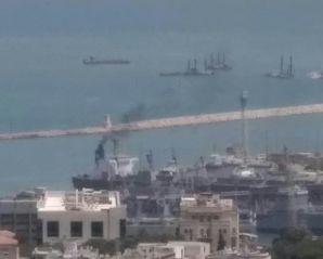 אונייה מזהמת את נמל חיפה,
